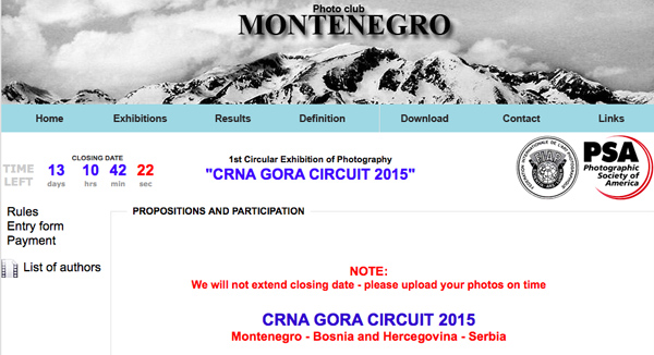 Circular Exhibition of Photography CRNA GORA