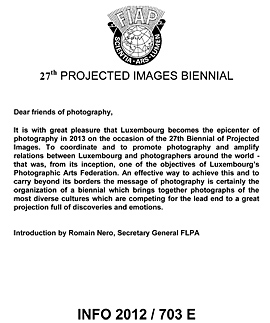 27th PROJECTED IMAGES BIENNIAL